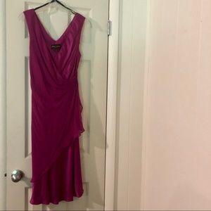 🌴 SALE Midi Mock-Wrap 100% Silk Donna Ricco Dress